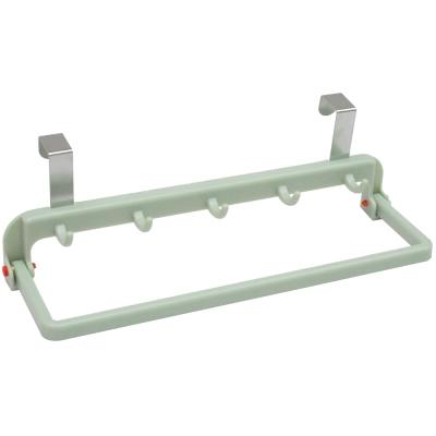 免打孔廚櫃門板門後置物架自回彈抹布架掛勾超值2入(顏色隨機出貨)