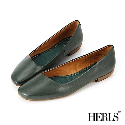HERLS 春日優雅 全真皮素面方頭斜口平底鞋-綠
