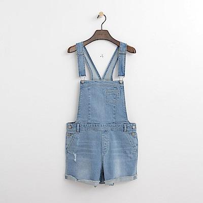 Hang Ten - 女裝 - 毛邊磨破吊帶短褲-淺藍色