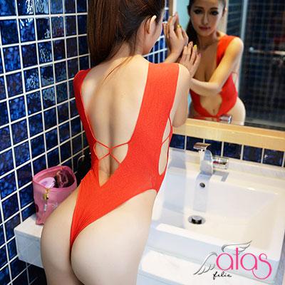 貓裝網衣 轉身V誘惑情趣連身衣 (紅色) alas