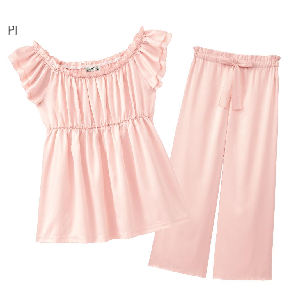 aimerfeel 緞布花邊裙襬成套家居服-粉紅色