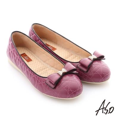 A.S.O 彈力舒芙 綿羊皮蝴蝶結平底鞋 紫紅色