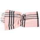BURBERRY HERITAGE 粉色格紋喀什米爾圍巾(100%CASHMERE)
