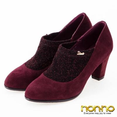 nonno-晚宴派對-性感麂皮低跟裸靴-酒紅