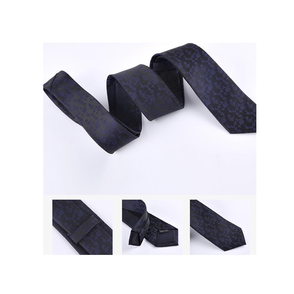 拉福 藍紋6CM中窄版領帶手打領帶 (黑底)