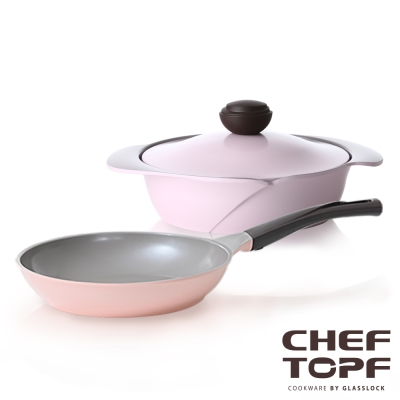 Chef Topf薔薇系列不沾鍋-平底鍋26cm+淺鍋/壽喜燒鍋24cm