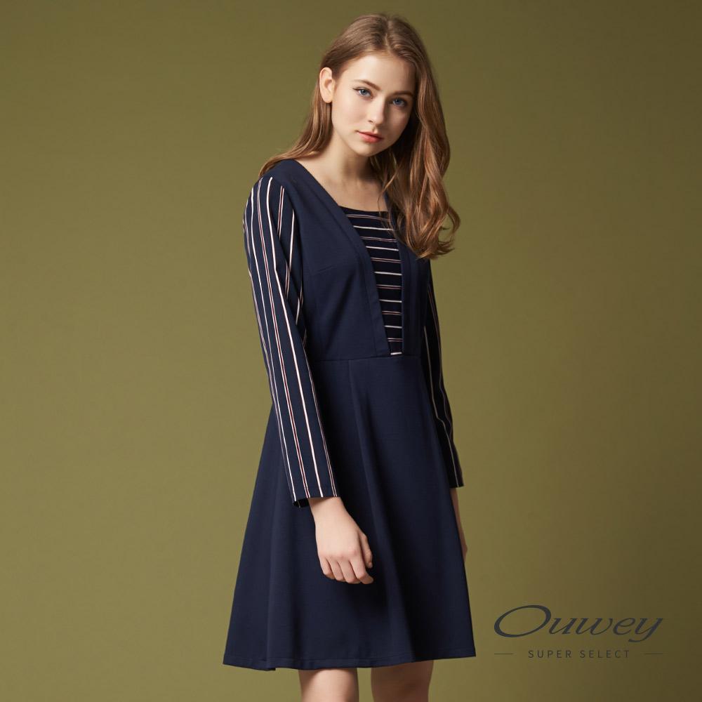 OUWEY歐薇 率性簡約條紋洋裝(藍)