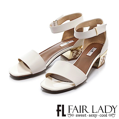 Fair Lady 圖騰裝飾繞帶設計粗跟涼鞋 白