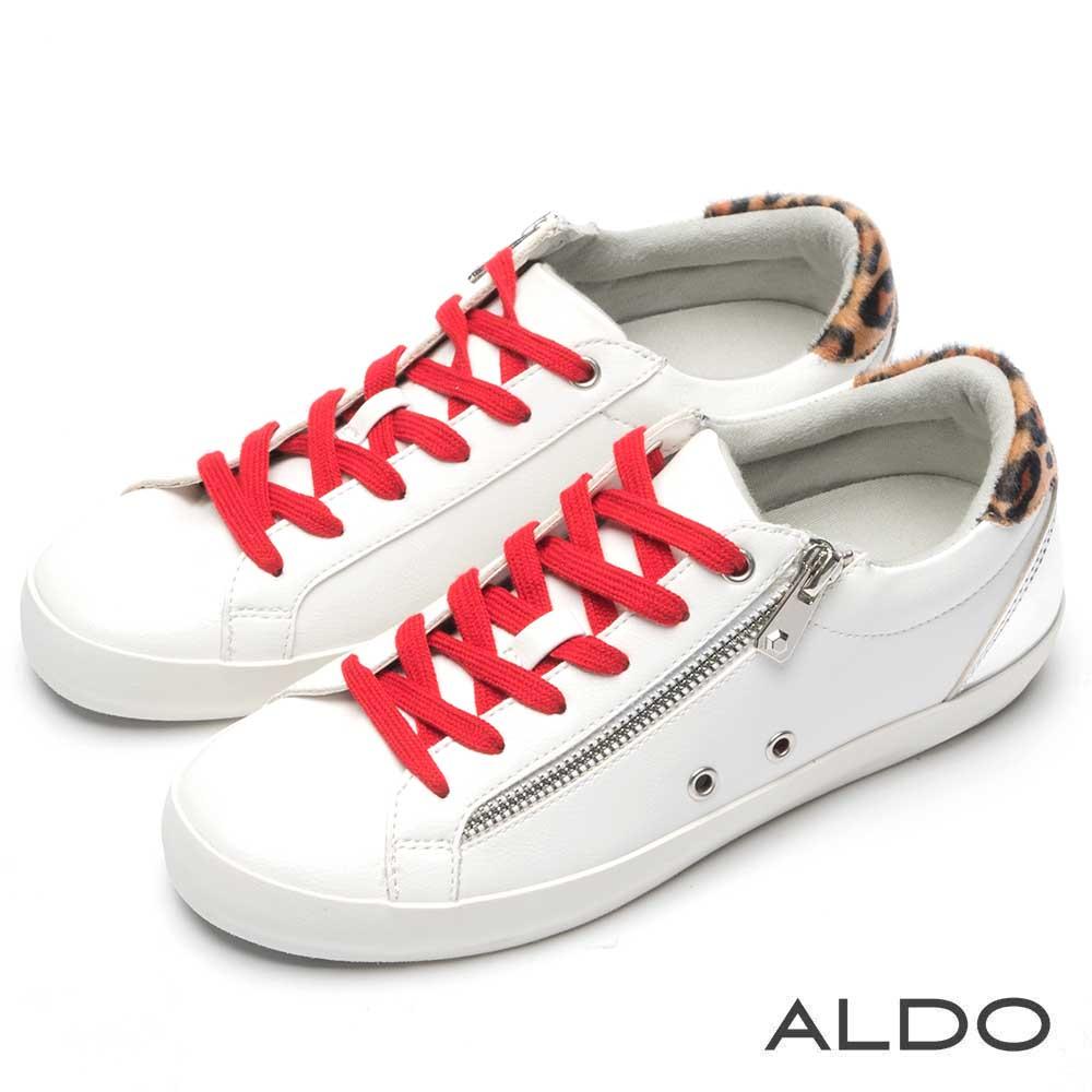 ALDO 白×紅交叉綁帶金屬拉鍊拼接豹紋休閒鞋~清新白色