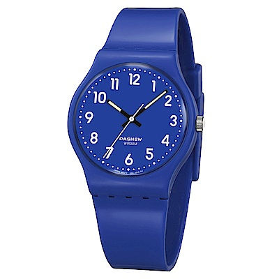 PASNEW 輕巧炫彩指針腕錶-紳士藍/34mm