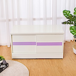 Birdie南亞塑鋼-3尺拉門/推門塑鋼坐式鞋櫃(白色+粉紫色)-90x41x50cm