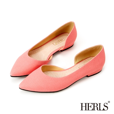 HERLS OL穿搭必備 內真皮尖頭平底鞋-粉色