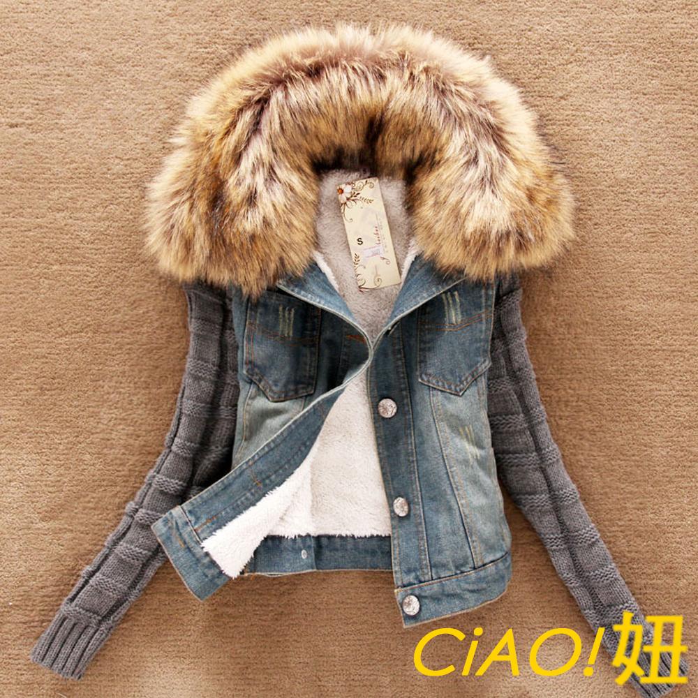 可拆式毛領拼接針織袖牛仔外套 (藍色)-CiAO妞