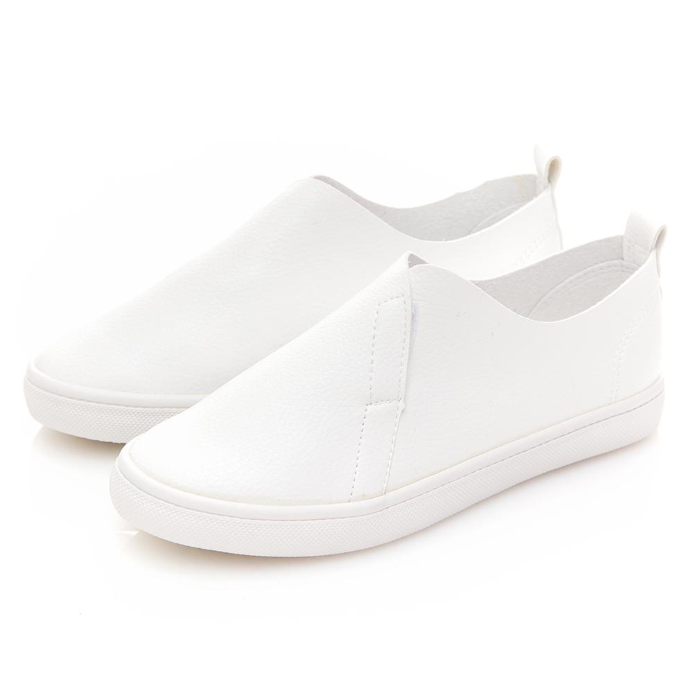 A one 簡約交疊魔鬼氈懶人休閒鞋-白色 @ Y!購物