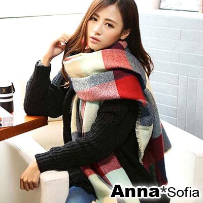 AnnaSofia-彩方格雙面四面鬚-仿羊絨披肩圍