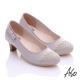 A.S.O舒適通勤 真皮金蔥編織側結飾中跟鞋 淺灰 product thumbnail 1