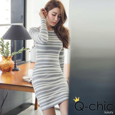 正韓-圓領條紋針織合身長袖洋裝-共二色-Q-chic