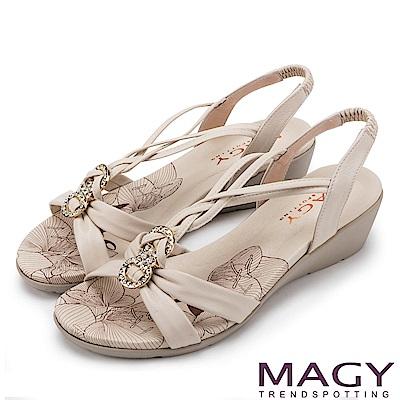 MAGY 夏日甜心 圓形鑽飾麻編牛皮涼鞋-米色
