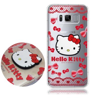 正版Hello Kitty 三星 Galaxy S8+ 立體大頭空壓手機殼(蕾絲...