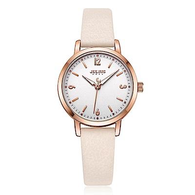 JULIUS聚利時 經典時刻簡約時尚腕錶-香檳粉/29mm