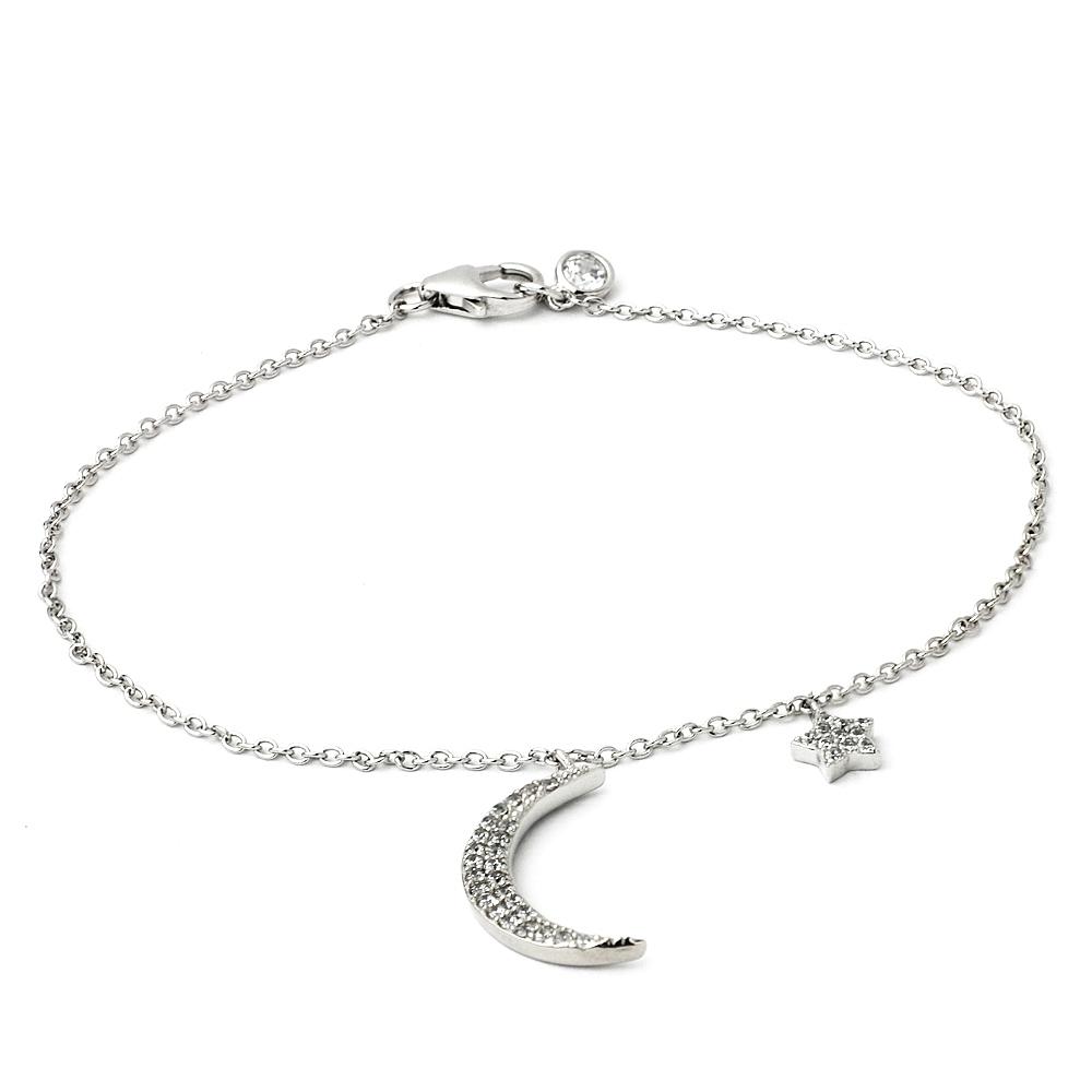 Crislu 月亮+小星星銀色手鍊