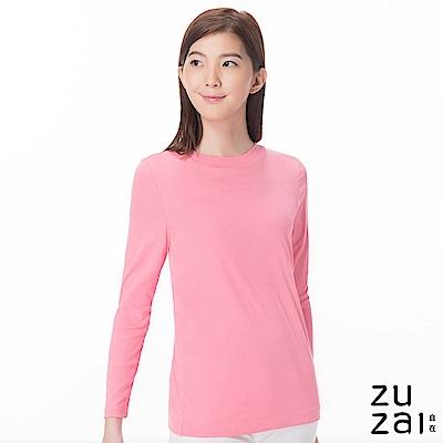 zuzai 自在發熱衣歸真系列女半高領長袖保暖衣-粉紅色