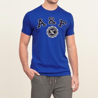 A&F 男裝  學院徽章短T恤(寶藍)