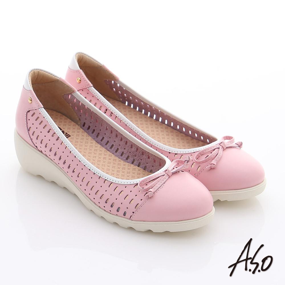 A.S.O 輕漾漫步 全真皮蝴蝶結透氣奈米平底鞋 粉紅