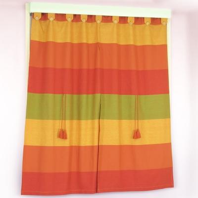 布安於室-色塊純棉窗簾-橘紅色系