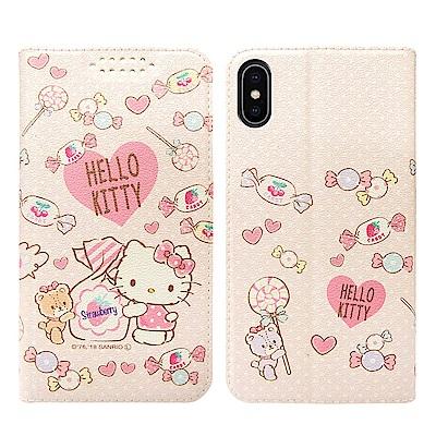 三麗鷗授權Hello Kitty貓 iPhone X 粉嫩系列彩繪磁力皮套(軟糖...