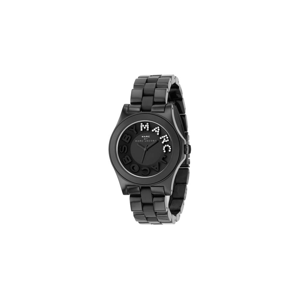 Marc Jacobs MARC 晶鑽時尚玻麗腕錶-IP黑/40mm