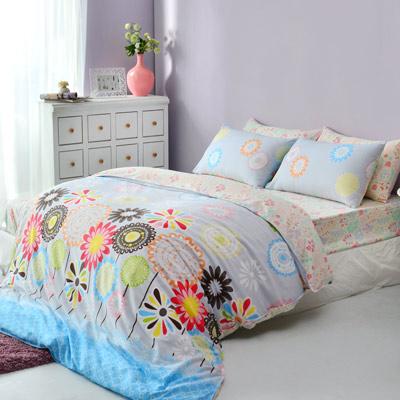 美夢元素 精梳棉-床包被套組-雙人(花舞莎莎-藍)