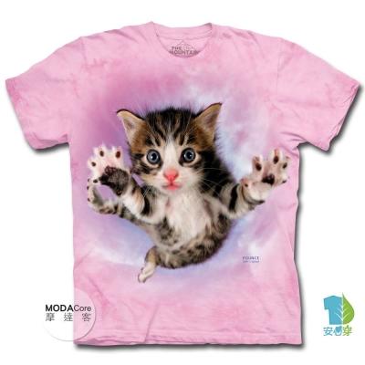 摩達客 美國進口The Mountain 粉紅飛天撲小貓 短袖T恤