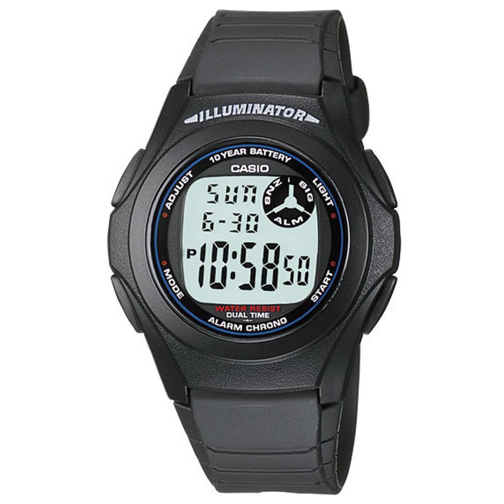 CASIO 超強10年電力數位錶(F-200W-1A)-黑色白字/40mm