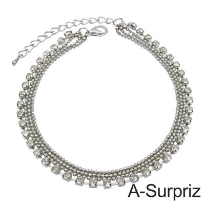 A-Surpriz 圓珠爪鍊多層造型腳鍊(白K色)