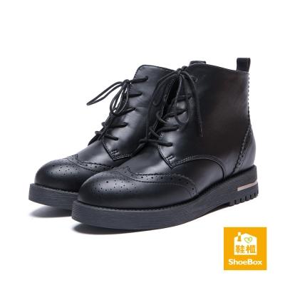 鞋櫃ShoeBox-短靴-金屬刷色雕花綁帶平底短靴-黑