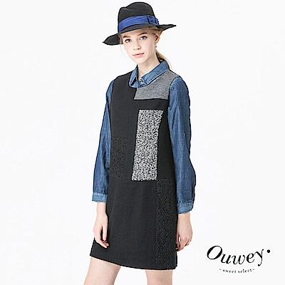 Ouwey歐薇 異素材拼貼毛料背心洋裝(黑)