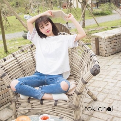 東京著衣 色線鑲邊寬袖上衣-S.M(共一色)