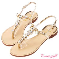 Grace gift閃耀心機-華麗T字晶鑽寶石涼鞋