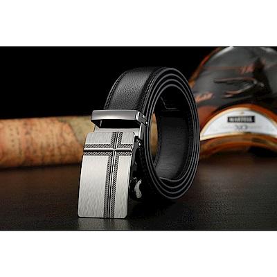 ZK2004BK歐風銀色自動扣牛皮腰帶皮帶黑色(腰圍在22-42吋內適用)