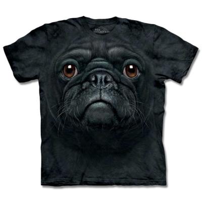 摩達客 美國進口The Mountain黑巴哥犬臉純棉短袖T恤