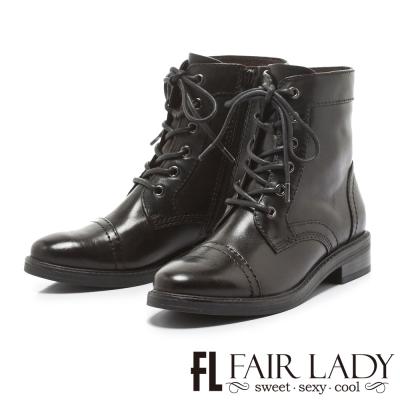 Fair Lady 率性男孩風綁帶牛津短靴 黑