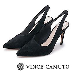 Vince Camuto 素面麂皮繞後跟尖頭高跟鞋-黑色