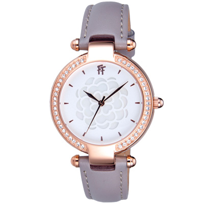 Folli Follie  醇甜愛戀晶鑽皮帶腕錶-皮帶灰/33mm
