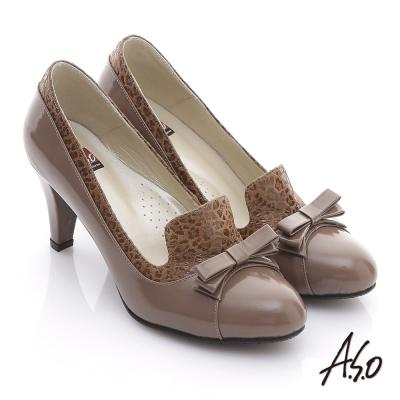 A-S-O-玩美彈麗-真皮蝴蝶結拼接豹紋高跟鞋-卡