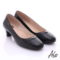 A.S.O 舒活寬楦 全真皮桃子口奈米粗跟鞋 黑