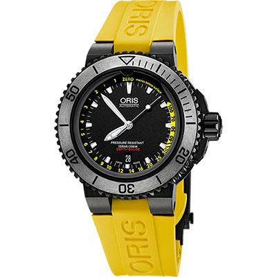 Oris Aquis Depth Gauge深度測量潛水套錶-IP黑/46mm