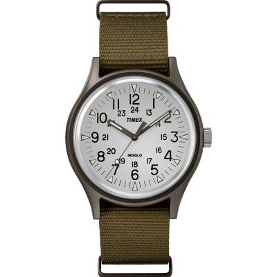 TIMEX 天美時 MK1系列 潮流軍錶-銀白x橄欖綠/40mm