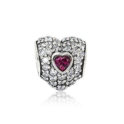 Pandora 潘朵拉 魅力鑲鋯紅色愛心造型 純銀墜飾 串珠