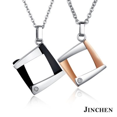 JINCHEN 白鋼成雙成對仰 情侶項鍊